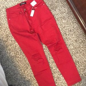 Express distress red ankle legging